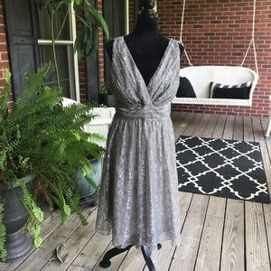 Silver Newport News lace dress size 10